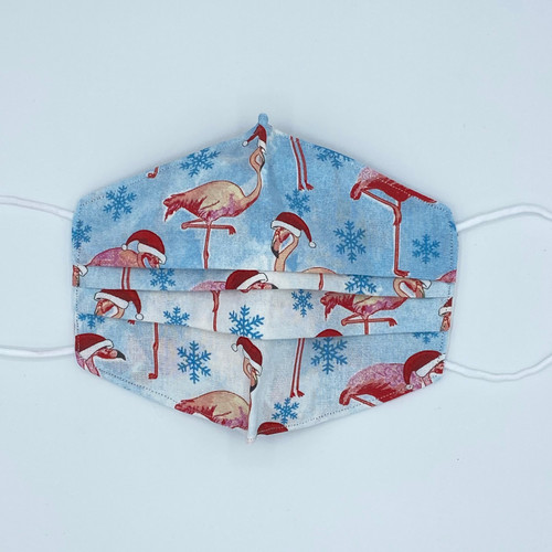 100% Cotton Christmas Flamingo Fabric Face Covering with Cord Elastic