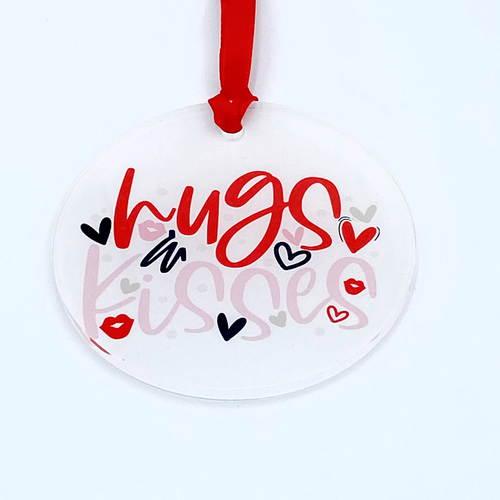 Hugs and Kisses Acrylic Valentine Ornament/Gift Tag