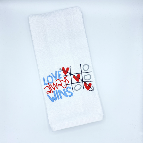 Love Always Wins Embroidered Dish Towel