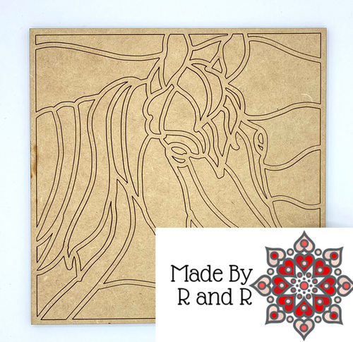 Horse Silhouette Mosaic Puzzle Wood Cut Out