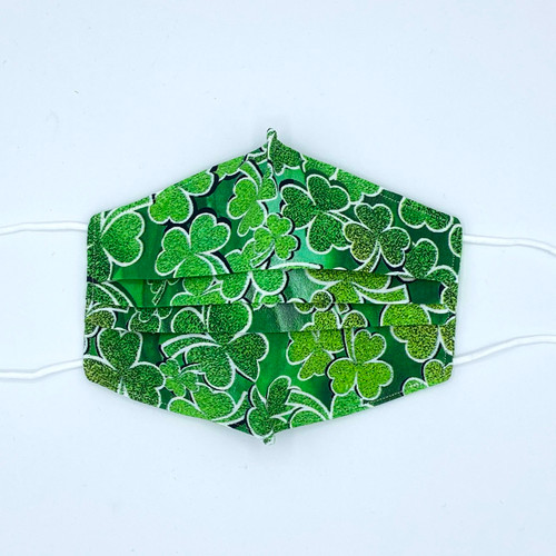 100% Cotton Green Shamrocks Fabric Face Covering with Cord Elastic