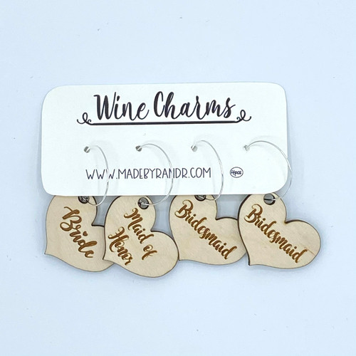 Bridal Party Wood Wine Charms