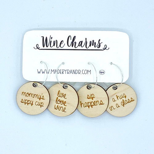 Mommy's Sippy Cup Wood Wine Charms