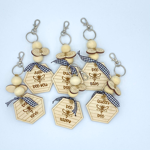 Bee Keychain with Clip