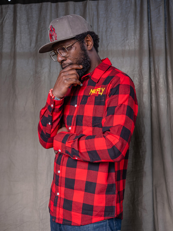 The MacFly Red + Black Lumberjack Embroidered Button-up