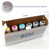 Premium HUVR Dye Ink - 100 ml x 6 Four-Color Refill Ink for Canon (KD600X-AC)