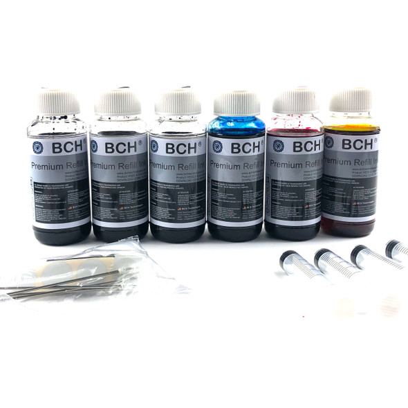 Premium HUVR Dye Ink - 100 mlx 6 Four-Color Ink for HP