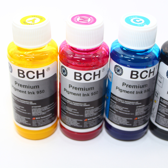 Premium Pigment Refill Ink - 100 ml x 4 Four Color for HP (KP600X-H950)