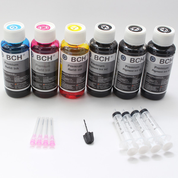 Premium 600 ml Refill Ink - (3X Pigment Black +  Photo Dye CMY)  KH600X-3PH