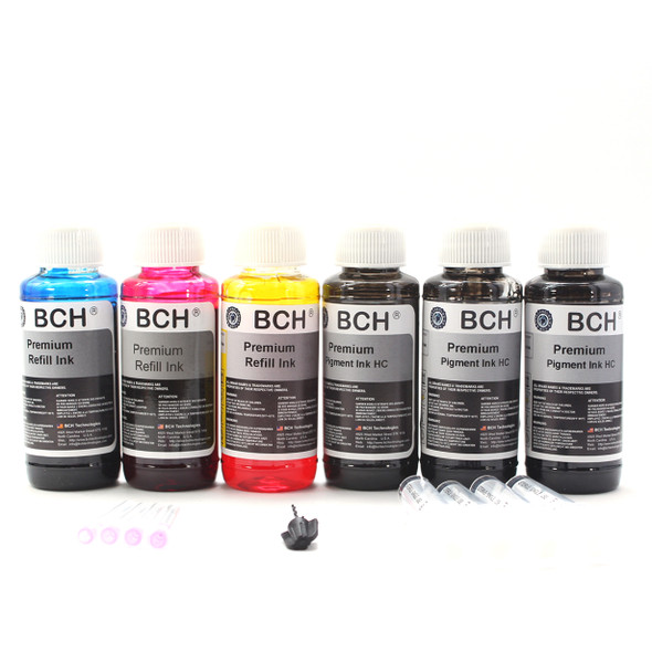 Premium Refill Ink - 100 ml x 6: Three Pigment Black +  Photo Dye (KH600X-3PC)