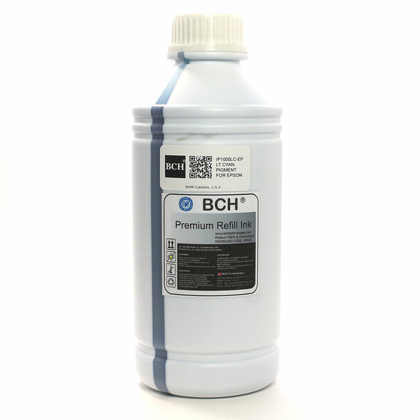Premium 1000 ml Light Cyan Pigment Ink for Epson (IP1000LC-AE)