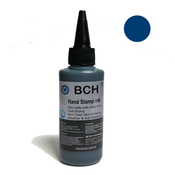 Royal Blue Color Re-Entry Stamp Ink by BCH for Event Admittance - Skin-Safe with Aloe Vera Extract - 3 oz Royal Blue