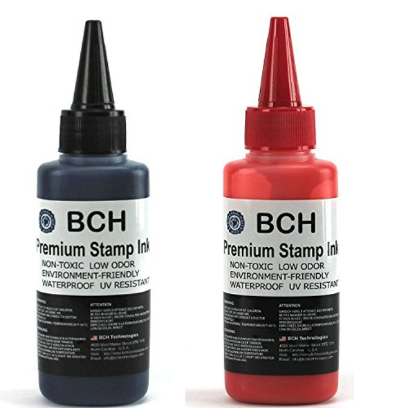 Red and Black Combo Stamp Ink Refill by BCH - Premium Grade -2.5 oz (75 ml) Ink Per Bottle
