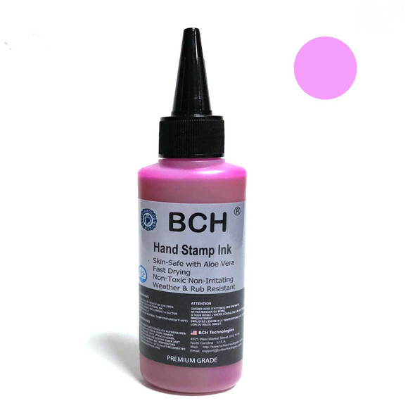 Lilac Color Re-Entry Stamp Ink by BCH for Event Admittance - Skin-Safe with Aloe Vera Extract - 3 oz Lilac