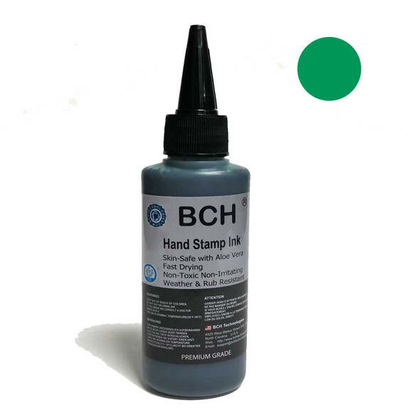 Green Color Re-Entry Stamp Ink by BCH for Event Admittance - Skin-Safe with Aloe Vera Extract - 3 oz Green