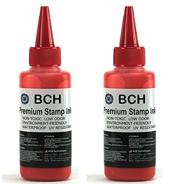 Bulk 2X Red Stamp Ink Refill by BCH - Premium Grade -2.5 oz (75 ml) Ink Per Bottle