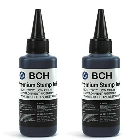 Bulk 2X Black Stamp Ink Refill by BCH - Premium Grade -2.5 oz (75 ml) Ink Per Bottle