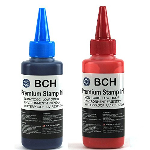 Blue and Red Combo Stamp Ink Refill by BCH - Premium Grade -2.5 oz (75 ml) Ink Per Bottle