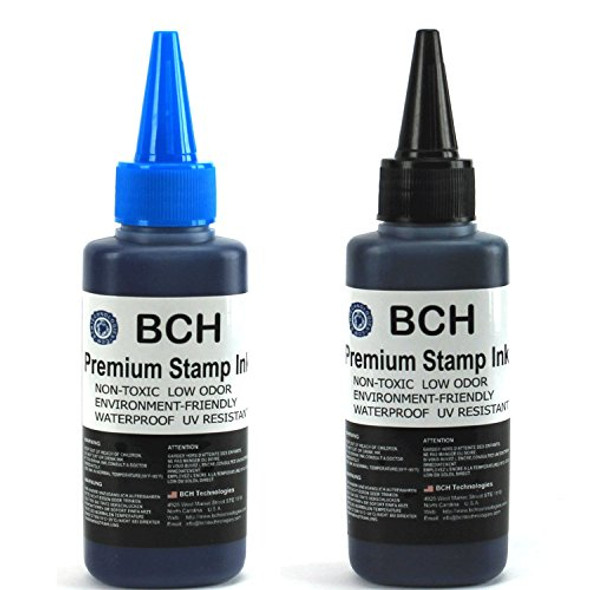 Blue and Black Combo Stamp Ink Refill by BCH - Premium Grade -2.5 oz (75 ml) Ink Per Bottle