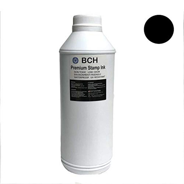 Black Bulk 1-Liter Stamp Ink Refill for Self-Ink Pads - BCH Premium Grade -33.8 oz (1,000 ml) Ink Per Bottle