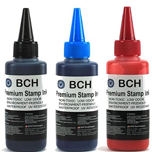 Black Blue Red Stamp Ink Refill by BCH - Premium Grade -2.5 oz (75 ml) Ink Per Bottle (7.5 oz / 225 ml Total)