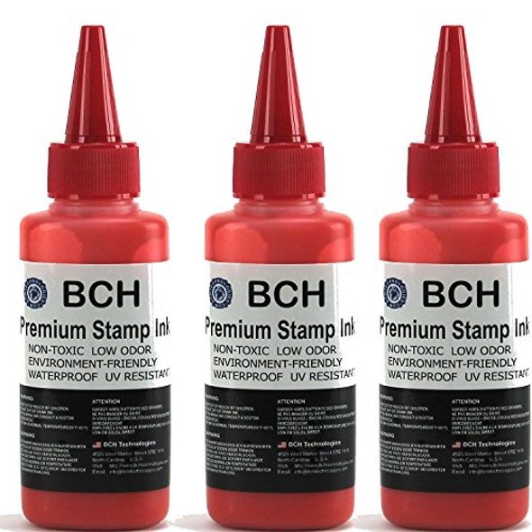 3X Red Stamp Ink Refill by BCH - Premium Grade -2.5 oz (75 ml) Ink Per Bottle (7.5 oz / 225 ml Total)