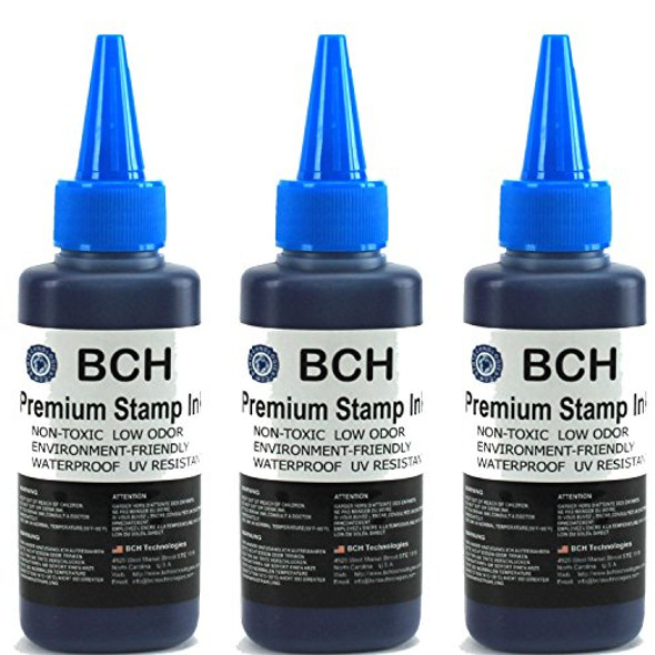 3X Blue Stamp Ink Refill by BCH - Premium Grade