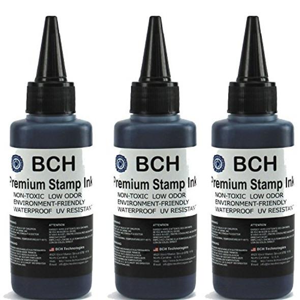 3X Black Stamp Ink Refill by BCH - Premium Grade -2.5 oz (75 ml) Ink Per Bottle (7.5 oz / 225 ml Total)