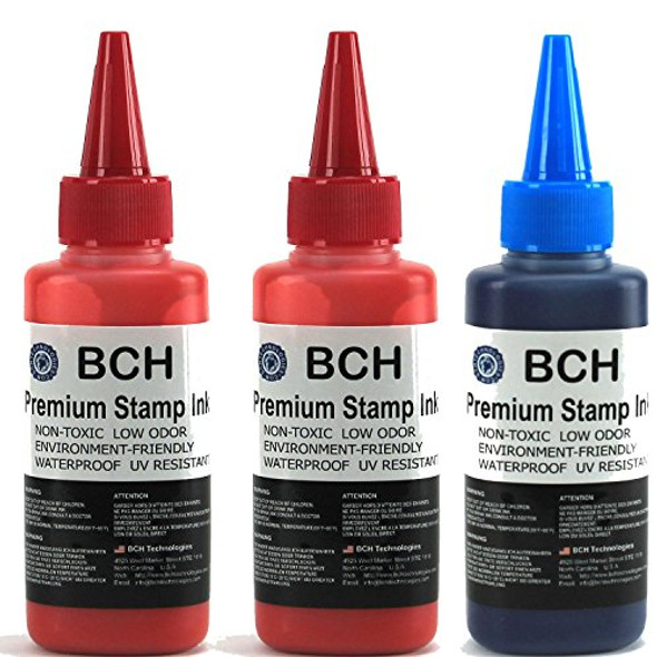 2X Red + 1X Blue Stamp Ink Refill by BCH - Premium Grade -2.5 oz (75 ml) Ink Per Bottle (7.5 oz / 225 ml Total)
