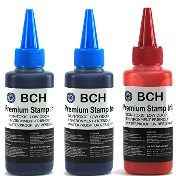 2X Blue + 1X Red Stamp Ink Refill by BCH - Premium Grade