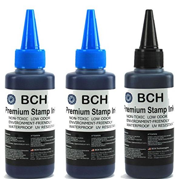 2X Blue + 1X Black Stamp Ink Refill by BCH - Premium Grade -2.5 oz (75 ml) Ink Per Bottle (7.5 oz / 225 ml Total)