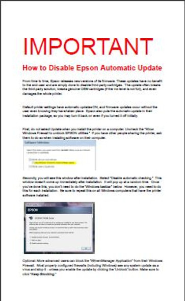 How to Disable Epson Automatic Update
