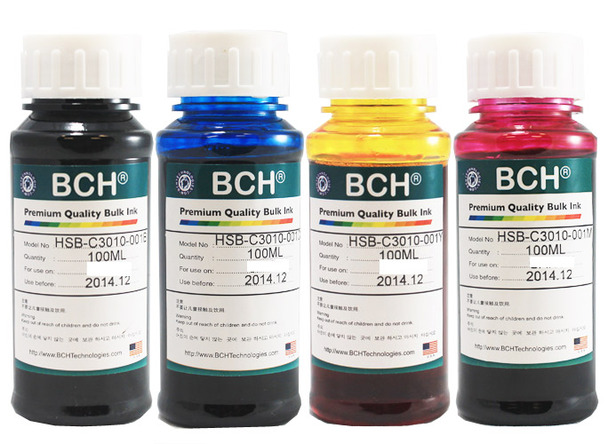 Premium Dye Ink - 100ml x 4 Four-Color for HP (KD400X-AH)