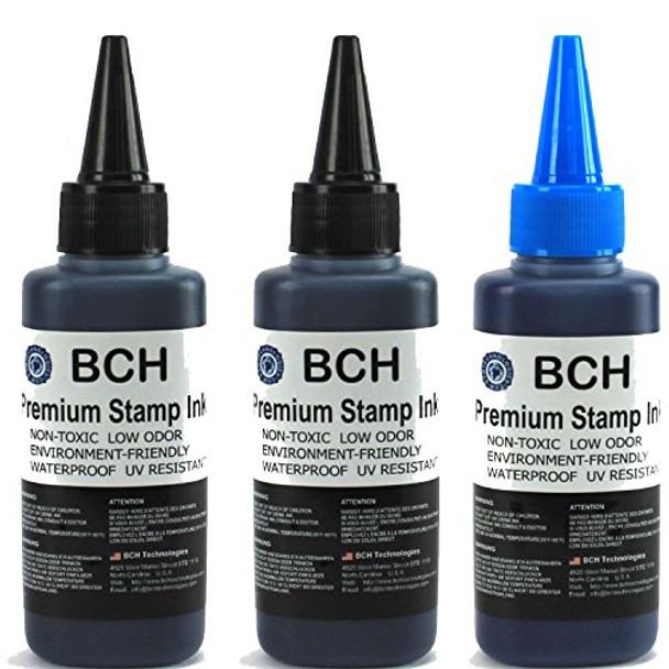 2X Black+ 1X Blue Stamp Ink Refill by BCH - Premium Grade -2.5 oz (75 ml) Ink Per Bottle (7.5 oz / 225 ml Total)