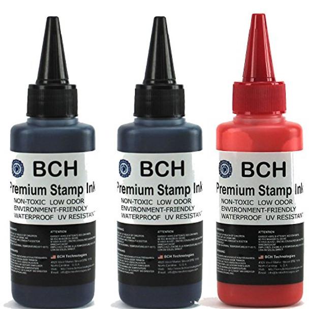 2X Black + 1X Red Stamp Ink Refill by BCH - Premium Grade -2.5 oz (75 ml) Ink Per Bottle (7.5 oz / 225 ml Total)