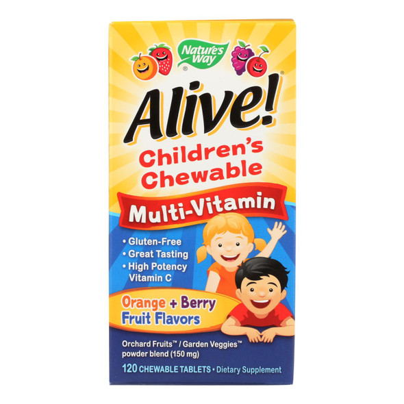 Nature's Way - Alive! Children's Chewable Multi-vitamin - Orange And Berry - 120 Chewable Tablets - DB44626226