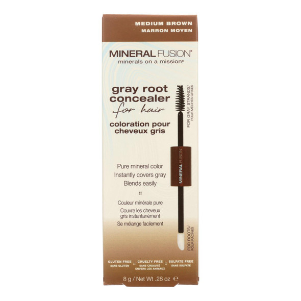 Mineral Fusion - Gray Root Concealer - Medium Brown - 0.28 Oz.