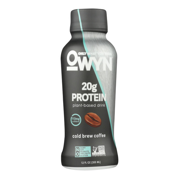 Only What You Need - Plant Based Protein Shake - Cold Brew Coffee - Case Of 12 - 12 Fl Oz.