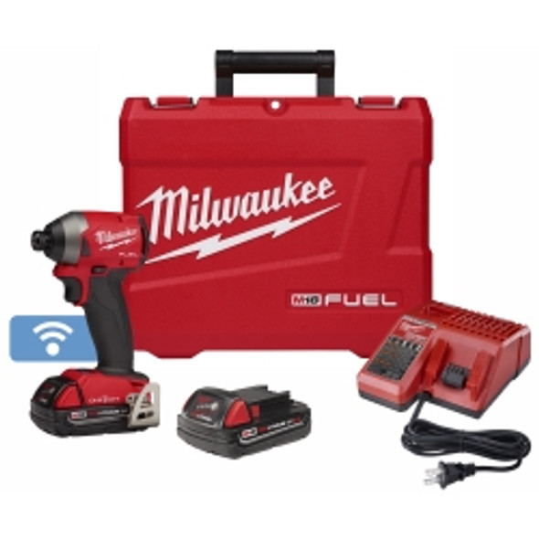 Milwaukee M18 Fuel Compact 1/4 In. Hex Impact Driver And One-key W/ (2) Batteries Kit