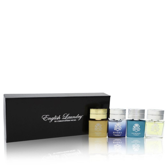 Notting Hill by English Laundry Gift Set -- Gift Set includes Notting Hill, Riviera, Oxford Bleu, and Arrogant, all in .68 oz Mini EDP Sprays for Men