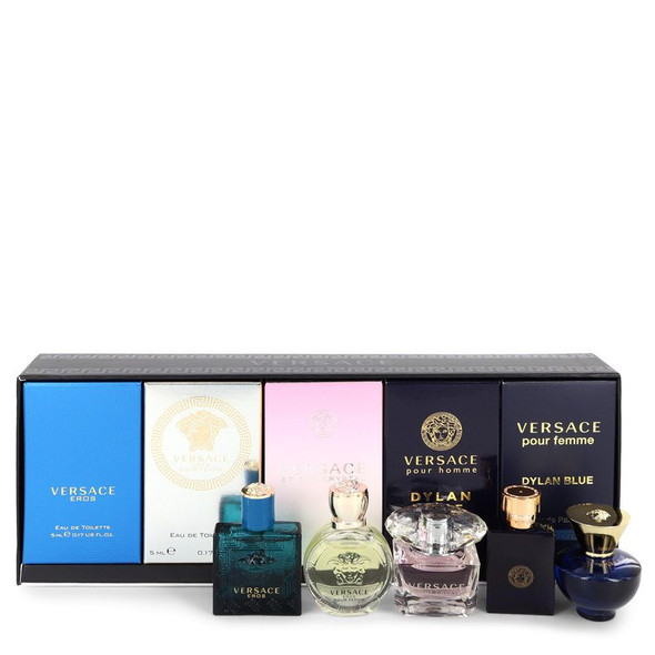 Versace Eros by Versace Gift Set -- The Best of Versace Men's and Women's Miniatures Collection Includes Versace Eros, Versace Pour Homme Dylan Blue, Versace Pour Femme Dylan Blue, Bright Crystal and Versace Eros Pour Femme for Men