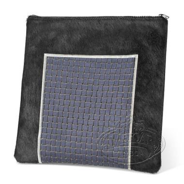Exquisite Taste, Modern Style Tallis / Tefillin Bag, Black Fur/Grey Premium, FP