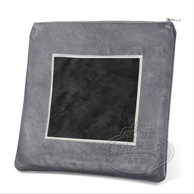 Refined Patterns, Modern Style Tallis / Tefillin Bag, Grey/Black Fur, LF