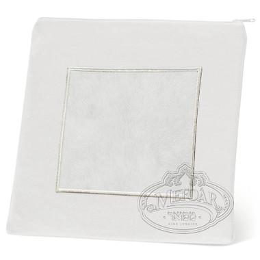 Refined Patterns, Modern Style Tallis / Tefillin Bag, White/White Fur, LF