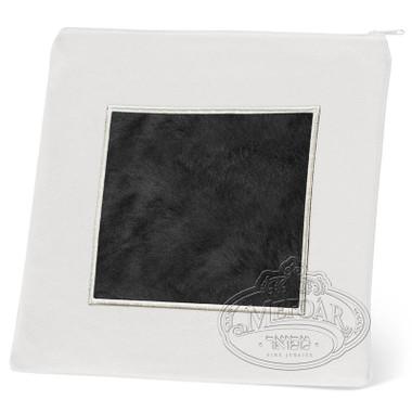 Refined Patterns, Modern Style Tallis / Tefillin Bag, White/Black Fur, LF