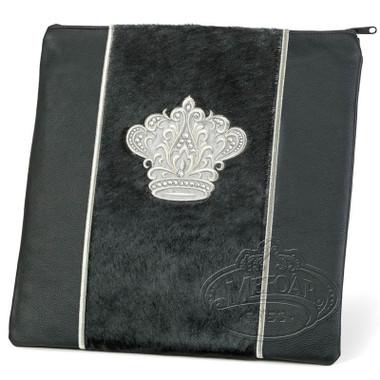 Highest Nobility, Elegant Style Tallis / Tefillin Bag, Black/Black Fur/Silver, LF