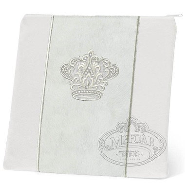 Highest Nobility, Elegant Style Tallis / Tefillin Bag, White/White Fur/Silver, LF