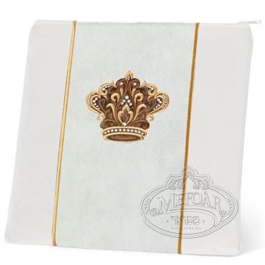 Highest Nobility, Elegant Style Tallis / Tefillin Bag, White/White Fur/Gold, LF