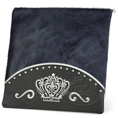 Brilliant Majesty, Elegant Style Tallis / Tefillin Bag, Black/Grey Fur, LF