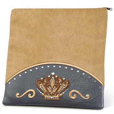 Brilliant Majesty, Elegant Style Tallis / Tefillin Bag, Grey/Camel Fur, LF